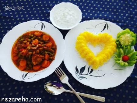 خوراک لوبیا سبز , طرز تهیه خوراک لوبیا سبز , خوراک لوبیا سبز با گوشت چرخ کرده