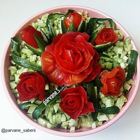 سالاد شیرازی , طرز تهیه سالاد شیرازی , سالاد شیرازی اصل , تزیین سالاد شیرازی مجلسی