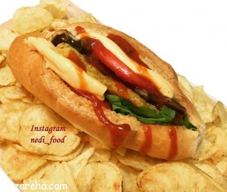 ساندویچ مرغ , ساندویچ مرغ با قارچ , طرز تهیه ساندویچ مرغ , ساندویچ مرغ خوشمره , ساندویج مرغ , shkn,d] lvy