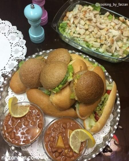 ساندویچ مرغ , ساندویچ مرغ با قارچ , طرز تهیه ساندویچ مرغ , ساندویچ مرغ خوشمره , ساندویج مرغ